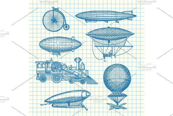 Vector Set Of Steampunk Hand Drawn Dirigibles Bicycles And Cars On Cell Sheet Illustration