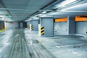 Empty underground parking lots