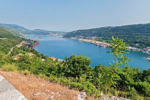 Aerial panoramic view to the seaport in Croatia