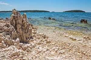 Beautiful rocky beach in Istria, Croatia