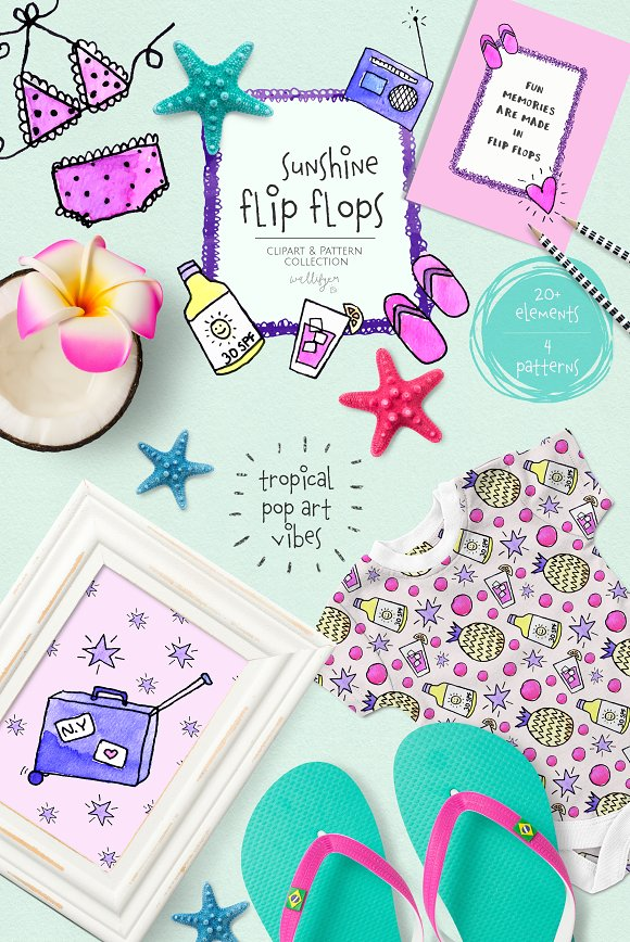 Tropical Summer Clipart Collection