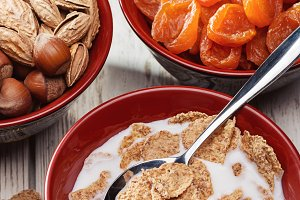 Breakfast. Dried fruits, flakes.