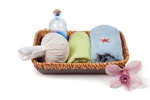 Spa accessories in basket
