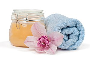 Spa accessories on white background