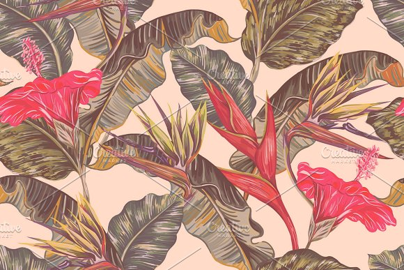 Tropical Flowers Leaves Pattern