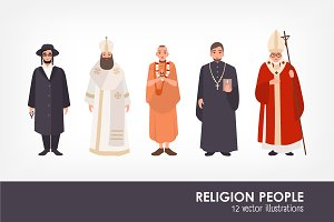 Set of religion people