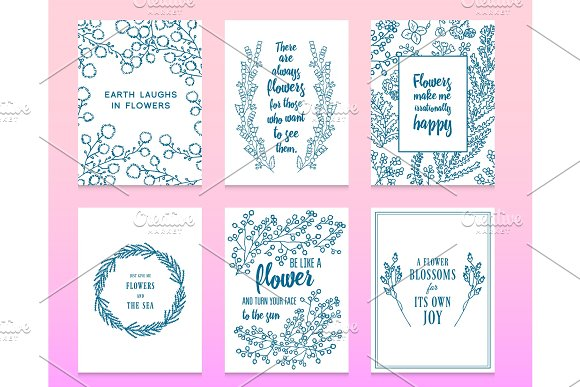 Leaves Of Flowers Vector Set Cute Floral Collection Hand Drawn Watercolor Wedding Or Greeting Cards Romantic Design Engraved Vintage Style Branches In Nature Card With Quote