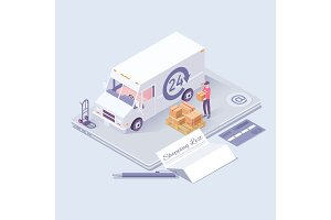 Fast delivery concept. Logistics and delivery isometric icons. Online shopping ecommerce concept isometric background