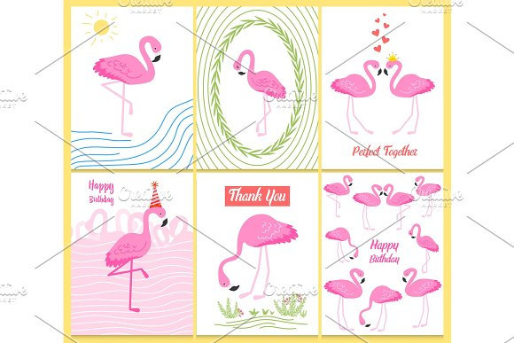 Flamingo Or Tropical Birds Illustration For Party Card Summer Exotic Background Vintage Cute Banner Or Spring Holiday Set