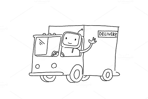 Robot On The Truck Goods Delivery Sketch Drawing By Hand Hand Drawn Black Line Vector Illustration