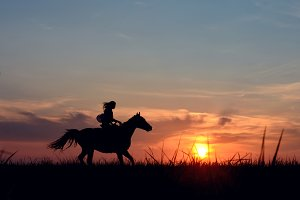 Romantic equine and girls silhouette