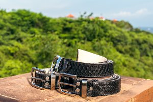 Fashion luxury snakeskin leather belts outdoors. Python belts on a tropical background.