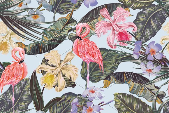 Tropical Flowers Flamingo Pattern