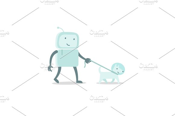 Robot Character Astronaut Man Walk With Dog On A Leash Flat Color Vector Illustration