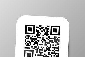 Typical realistic QR barcode sticker