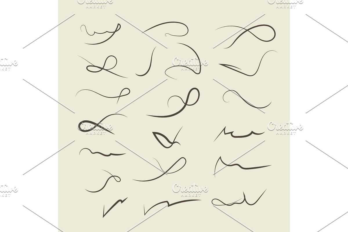 Vector Hand drawn decorative curls, swirls, dividers collection in Illustrations - product preview 8
