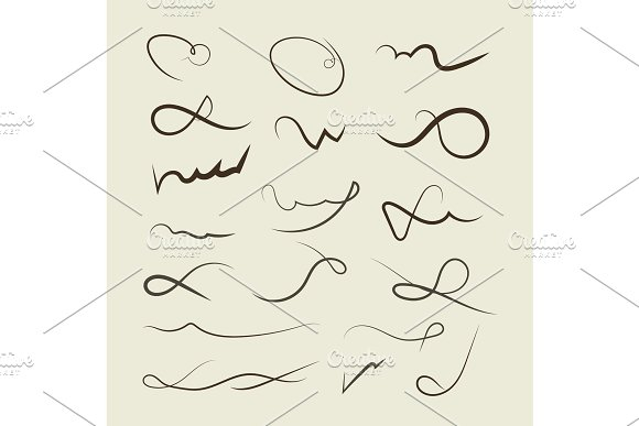 Vector Hand Drawn Decorative Curls Swirls Dividers Collection