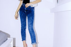 Fashion Brunette Model Stylish Jeans