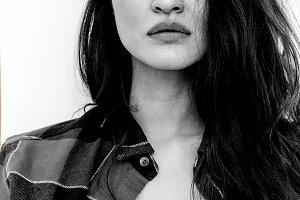 Black and white portrait. Fashion Se