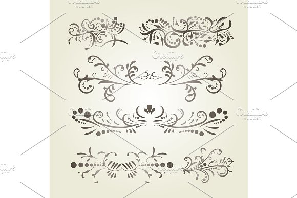 Brown Gradient Calligraphic Swirl Elements