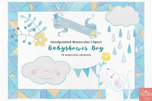 Watercolor Babyshower boy in blue
