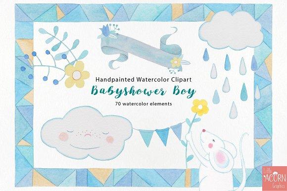 Watercolor Babyshower Boy In Blue Illustrations Creative Market