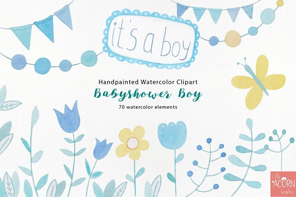 Watercolor Babyshower Boy In Blue Illustrations Creative Market