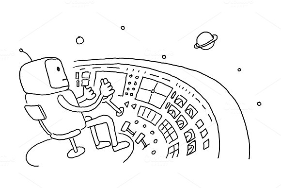Sketch Astronaut Man Robot Alien Character On Flying Saucer In Space Flying Saucer Driver Wheel Hand Drawn Black Line Vector Illustration