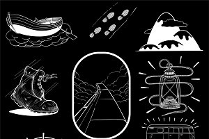 Illustration set of wanderlust icons