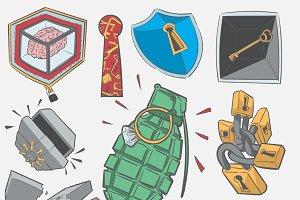 Illustration set of safety concept