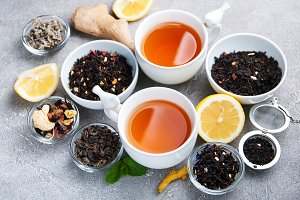 Cups of tea with aromatic dry tea