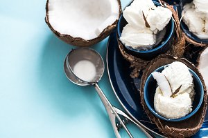 coconut ice cream on a blue background