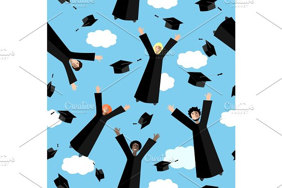 Happy Graduates Flying In The Air With Graduation Hats Jumping Students And Graduation Caps Vector Seamless Pattern