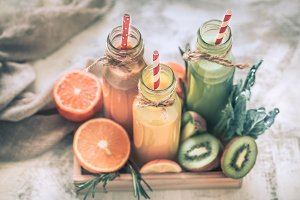 Healthy food fresh juice and fruit