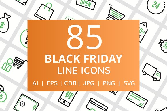 85 Black Friday Line Icons