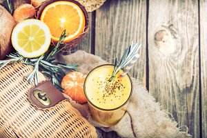 summer composition with fresh orange juice