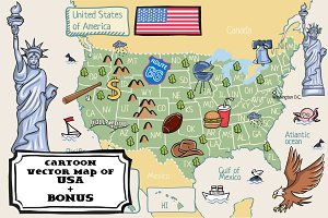 Cartoon map of USA + bonus pattern