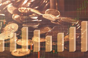 Graph on Rows of Coins for Finance and Banking on Digital Stock Market Financial Exchange and Double Exposure