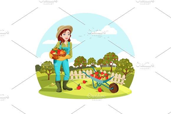Woman Or Female Gardener Holding Apples Pears