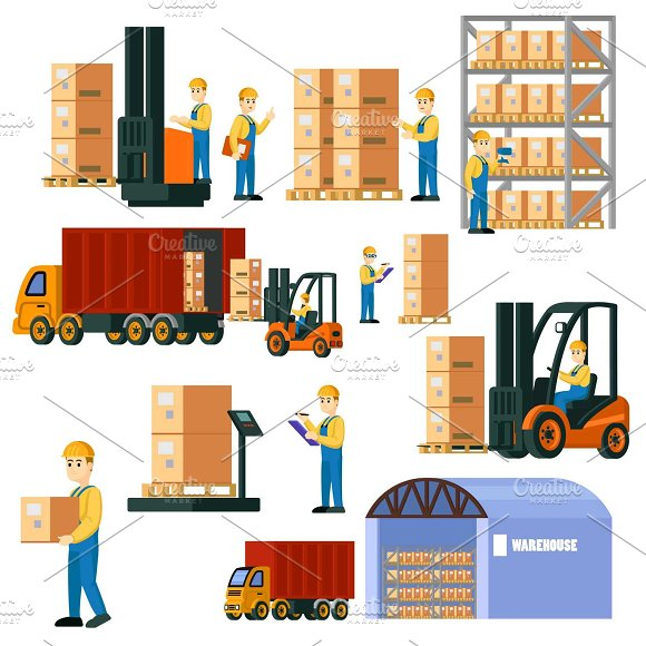 Colorful Logistic Warehouse Set
