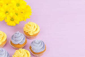 Cupcakes decorated with buttercream