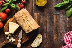 Italian food on rustic wood backdrop