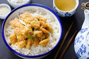 Teriyaki chicken with rice and green