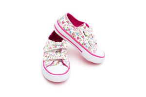 Sneakers for little girl. Isolated
