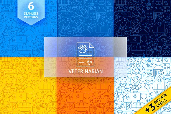 Pet Vet Line Tile Patterns