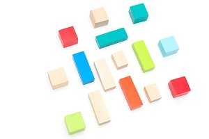 Multicolored wooden cubes. Geometric