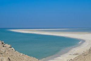 Panorama of Qalansiyah white sand beach, Soqotra island Yemen