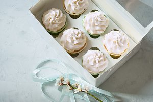 dessert cupcakes in a gift box. place for inscription