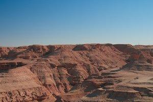 Panorama of Buttes at the dried shore of Razazza lake aka Milh lake or Sea of Salt Iraq