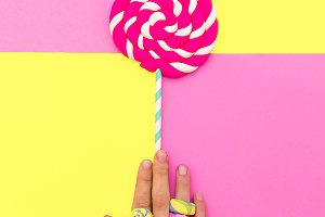 Hand candy loly pop Minimal sweet ar